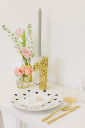 Glitter table numbers - Knot and Nest Designs