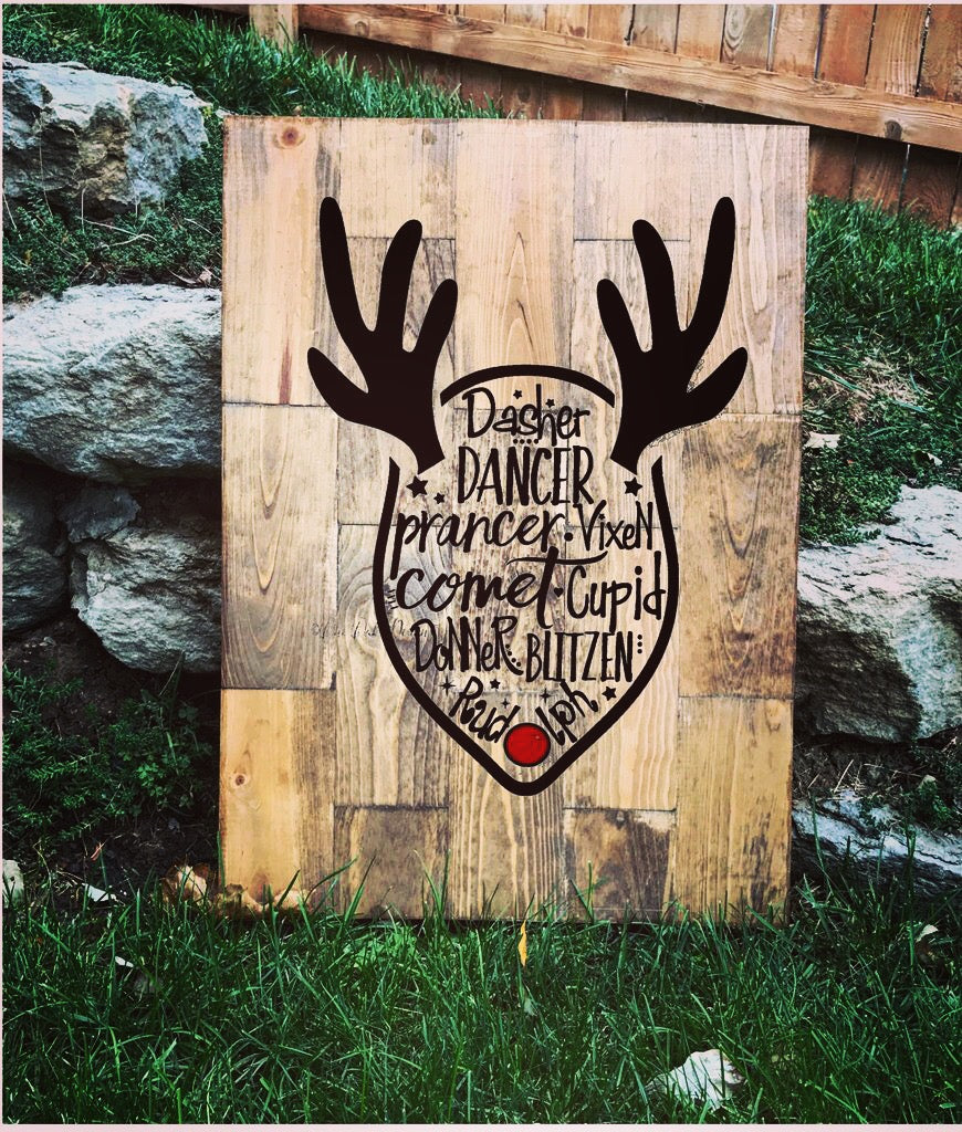 Large Holiday Wooden Reindeer Sign - Knot and Nest Designs