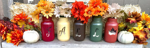 Fall Mason Jars set of 5 - Knot and Nest Designs