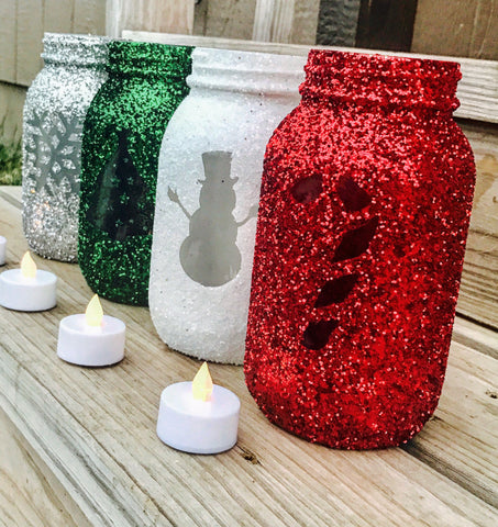 Holiday Mason Jars set of 4 - Christmas decorations - Knot and Nest Designs