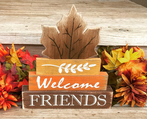 Welcome Friends Rustic Wooden Decor - Knot and Nest Designs