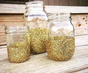 Glitter Dipped Mason Jars - Knot and Nest Designs