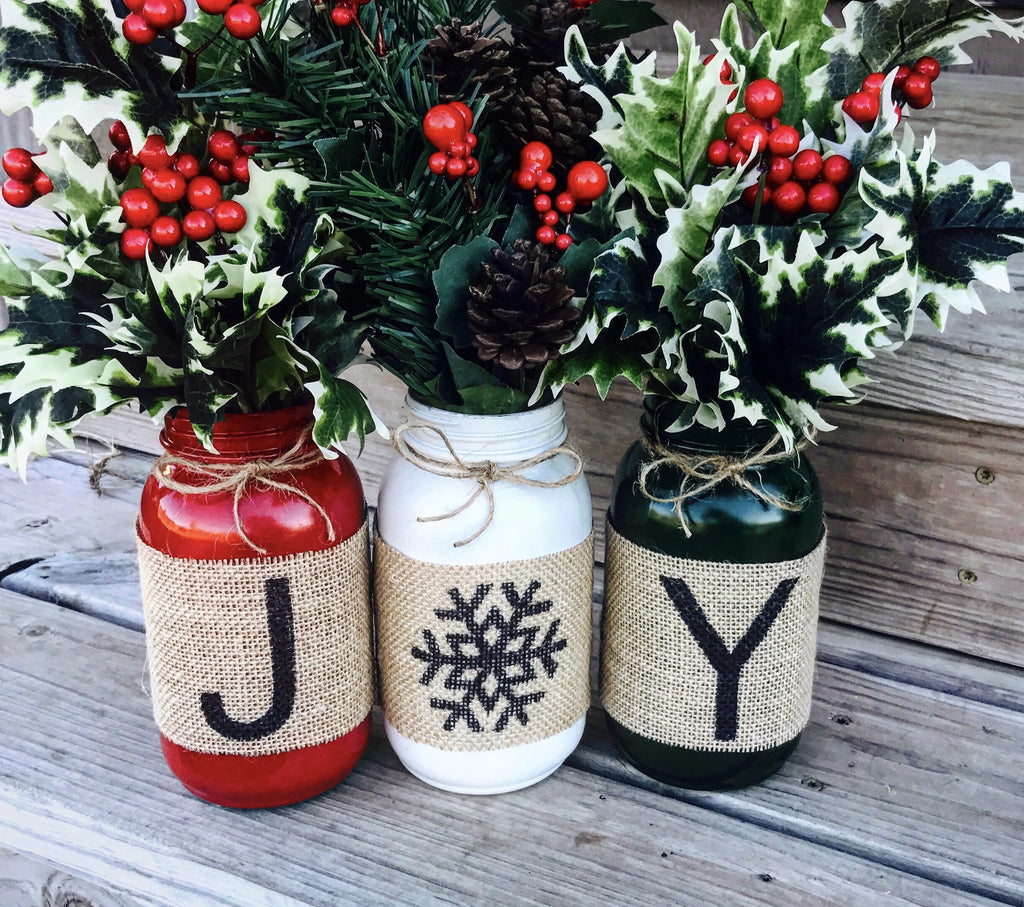 Christmas Holiday Burlap Mason Jars set of 3
