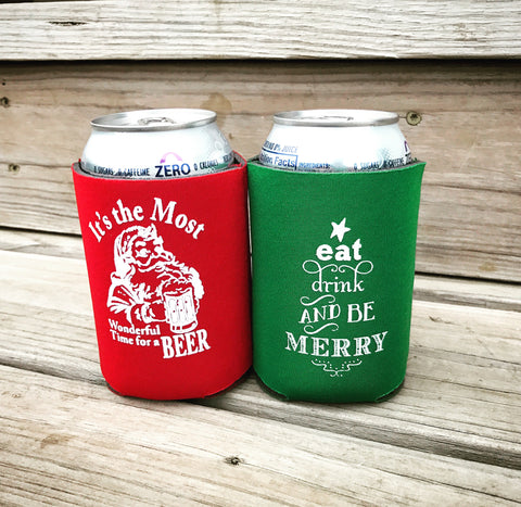 2 pack Christmas can coolers - Knot and Nest Designs