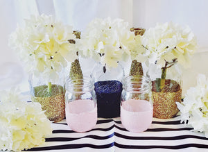 Load image into Gallery viewer, Glitter Dipped Mason Jars - Knot and Nest Designs
