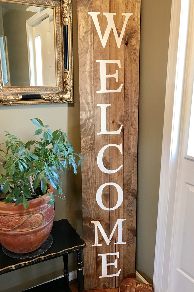 Welcome wood sign 6 39 tall knot and nest designs for Welcome home decorations ideas