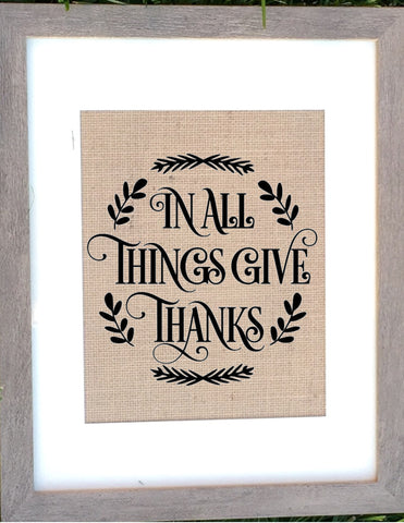 Give thanks - Burlap Sign
