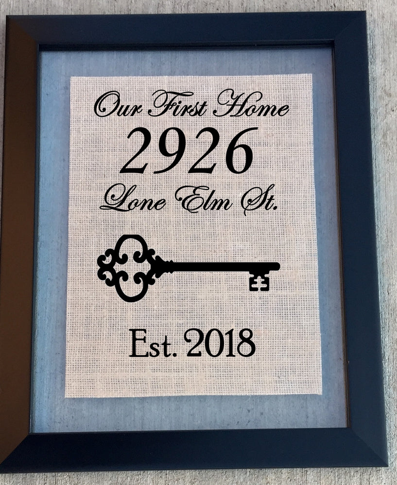Custom First Home Burlap Sign