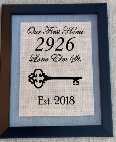 Custom First Home Burlap Sign - Knot and Nest Designs