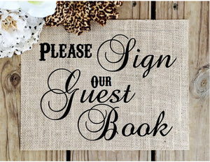 Burlap Wedding guestbook Sign - Knot and Nest Designs