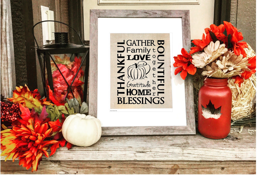 Load image into Gallery viewer, Thanksgiving Blessings - Burlap Sign - Knot and Nest Designs