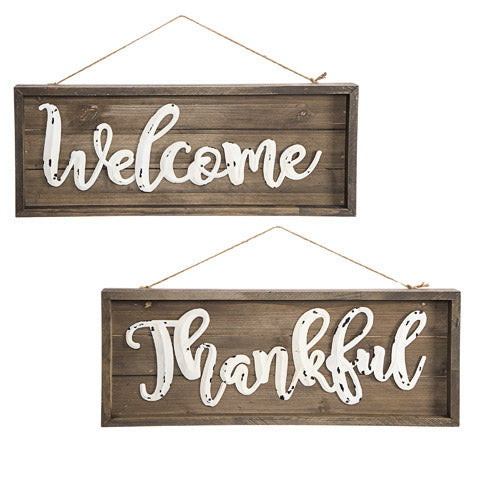 Load image into Gallery viewer, Farmhouse wood Welcome or Thankful Sign - Knot and Nest Designs