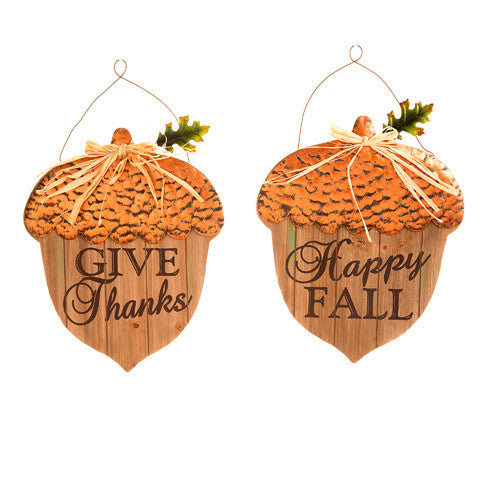 2 Pack Metal and Wood Fall Acorns