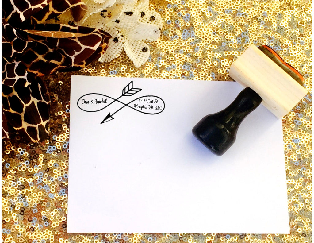 Arrow Custom return address stamp - Knot and Nest Designs