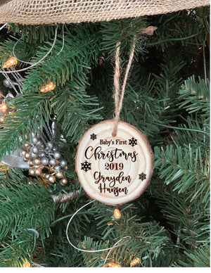 Baby's First Christmas Custom engraved ornament - Knot and Nest Designs