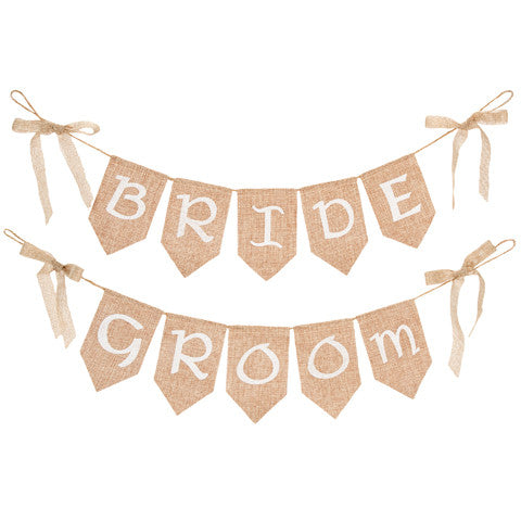 Bride and Groom Chair Banners - Knot and Nest Designs