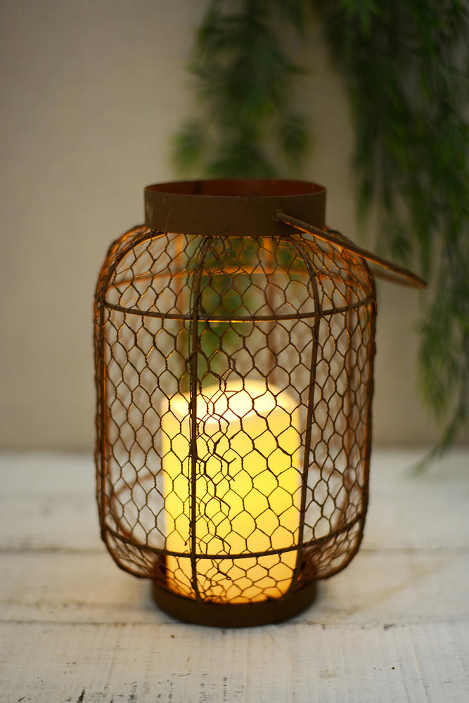 Rustic Lantern with Candle