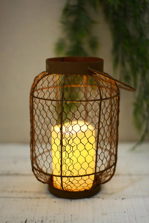 Rustic Lantern with Candle - Knot and Nest Designs