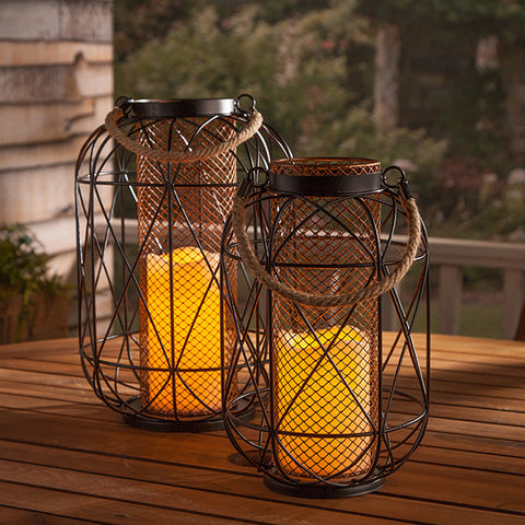 Farmhouse Lantern with Candle - Knot and Nest Designs