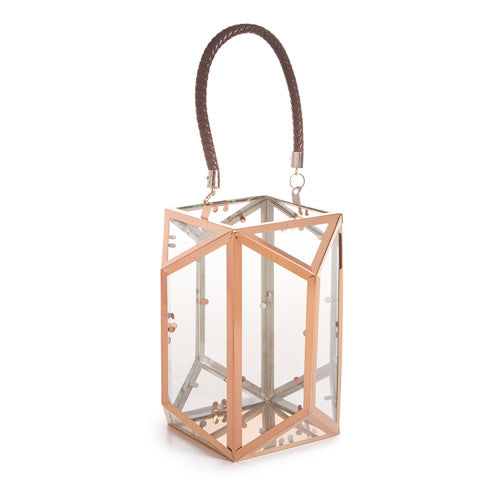 Copper Rose Gold Geometric Terrarium Lantern