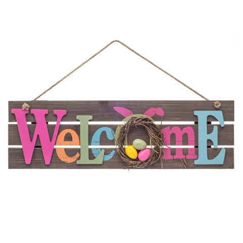 Welcome Easter Wooden Sign - Knot and Nest Designs