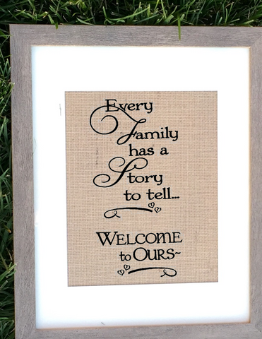 Burlap Family Quote Sign