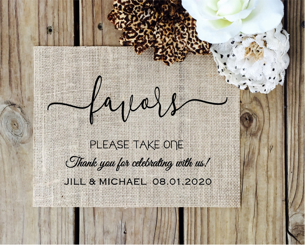 Wedding Favor Sign - Knot and Nest Designs