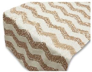 Gold Chevron Sequin Table Runner - Knot and Nest Designs