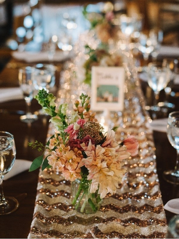 Gold Chevron Sequin Table Runner Knot And Nest Designs
