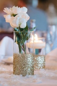 10 pack of Glitter Dipped Vases