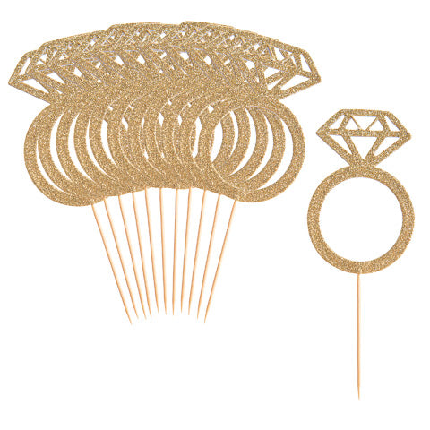 12 Pack Diamond Ring Dessert Toppers