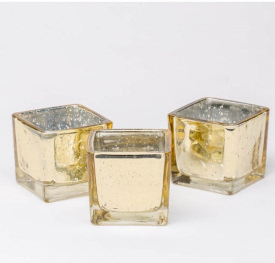 12 Pack Square Mercury Votives Rose Gold, Gold, Silver