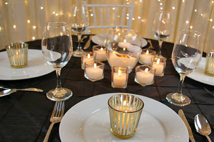 Gold Stripe votives - 12 pack