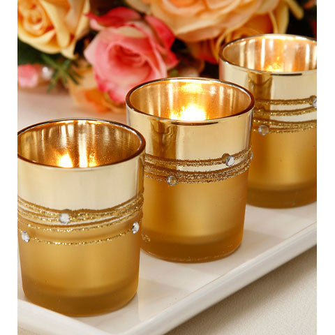 Gold Mercury Rhinestone Votives - 12 Pack - Knot and Nest Designs