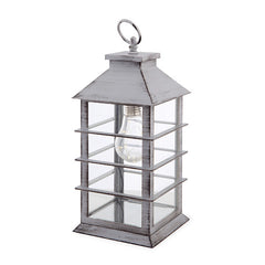 Gray Farmhouse Lantern with Modern Lightbulb - Knot and Nest Designs