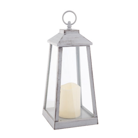 Oblong Farmhouse Lantern With Candle - Knot and Nest Designs