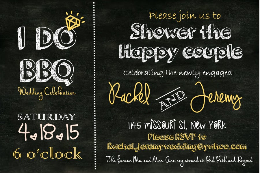 Chalkboard I Do BBQ Invite Package - Knot and Nest Designs
