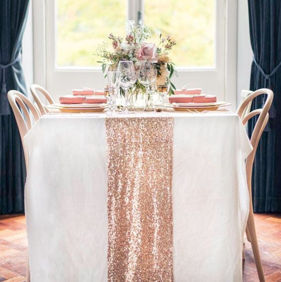Rose Gold Sequin Table Runner - Knot and Nest Designs