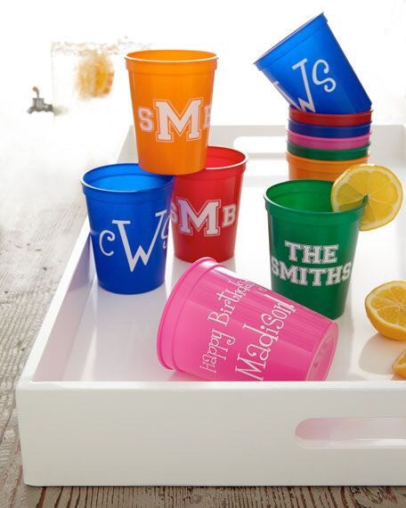 Customized plastic party cups - you choose your design - Knot and Nest Designs