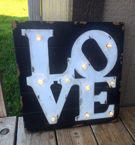 Love light up rustic sign