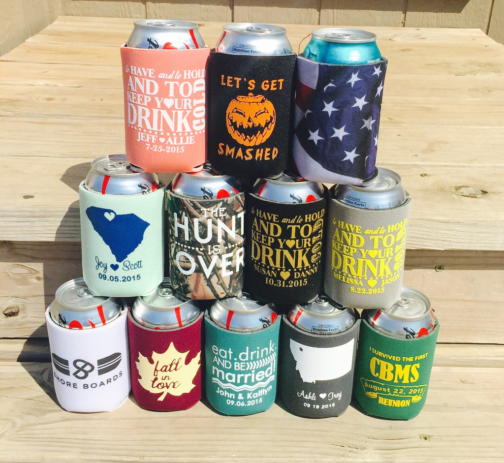 Custom Can Coolers - choose your own design double sided - Knot and Nest Designs
