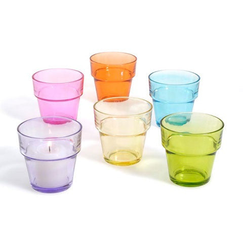 Colored votives flowerpot style - 12 pack
