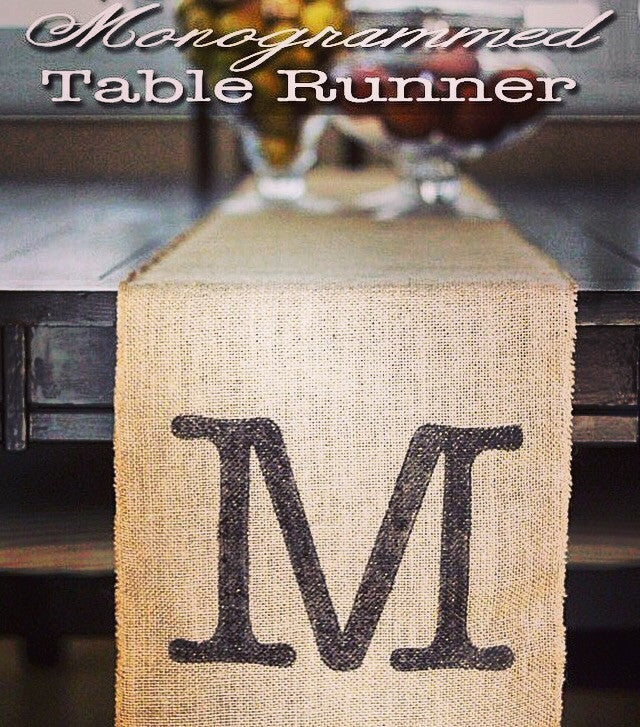 Burlap Table Runner With monogram