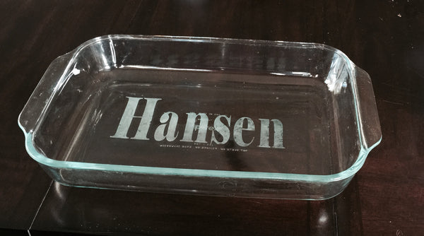 Personalized Pyrex Baking Dish Knot And Nest Designs