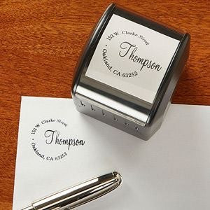 Circular custom return address stamp