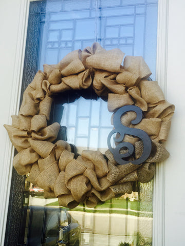 Burlap Custom monogram Wreath - Customized Choose your monogram - Knot and Nest Designs