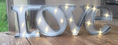 Galvanized Love light up rustic sign