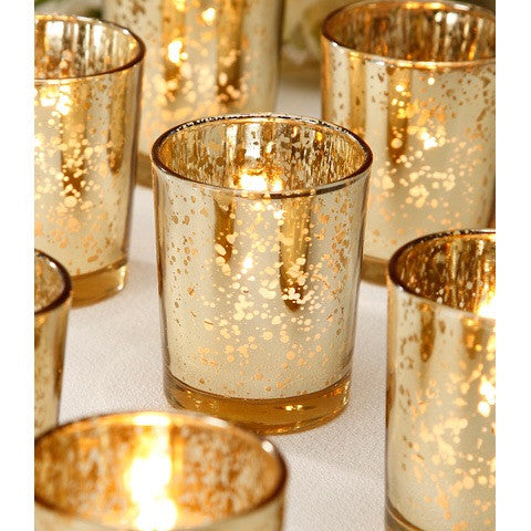 12 pack Rose Gold Mercury Votives - Knot and Nest Designs