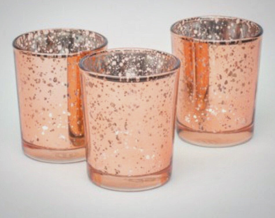 12 pack Rose Gold Mercury Votives