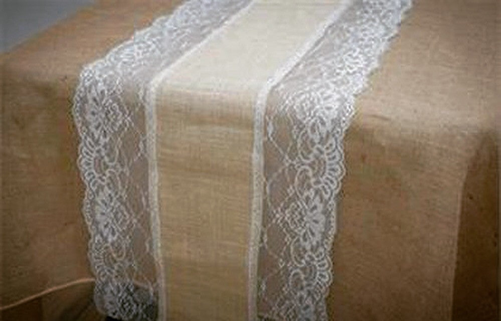 Burlap and Lace Table Runner - Knot and Nest Designs